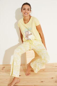 Womensecret Желтая длинная пижама из 100 % хлопка зеленый