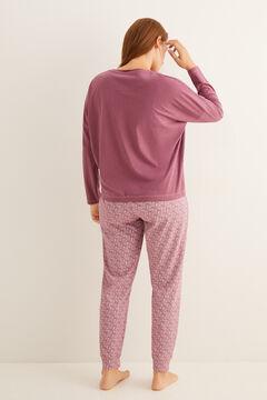 Womensecret Бордовая пижама из хлопка с длинными рукавами фиолетовый