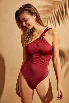Womensecret Красный моделирующий купальник асимметричного кроя с декоративным узлом цветной