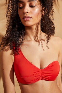 Womensecret Асимметричный бикини-топ с драпировкой красный