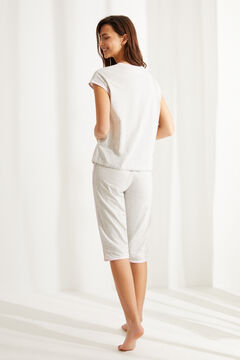 Womensecret Короткая пижама из хлопка «Розовая пантера» серый