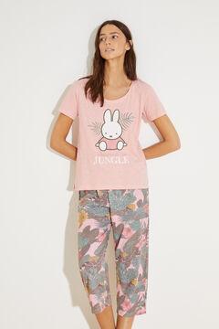 Womensecret Хлопковая пижама с верхом с короткими рукавами и брюками капри «Миффи» розовый