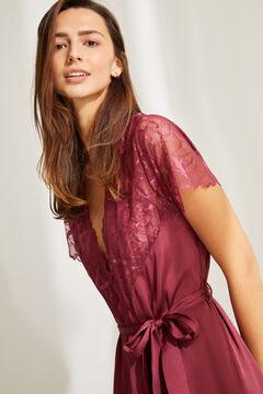 Womensecret Халат баклажанового цвета с короткими рукавами, кружевом и поясом цветной