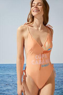 Womensecret Оранжевый купальник с V-образным вырезом и принтом «Копа Кабана» красный