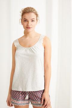 Womensecret Пижама с верхом на бретелях из 100 % хлопка с цветочным принтом красного цвета серый