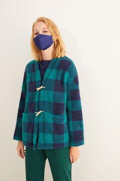 Womensecret Зеленый халат с клетчатым принтом цветной