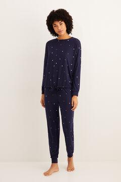 Womensecret Теплая длинная пижама с принтом «Звезды» темно-синего цвета голубой