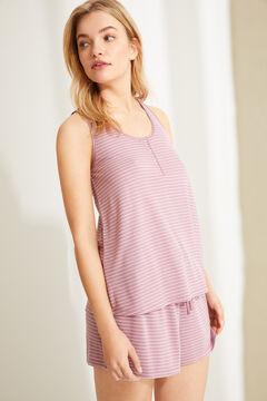 Womensecret Короткая пижама на бретелях из невероятно мягкого трикотажа в полоску розового цвета розовый
