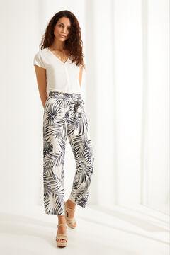 Womensecret Бежевые длинные струящиеся брюки с цветочным принтом бежевый
