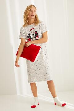 Womensecret Ночная рубашка из хлопка «Микки-Маус и Минни» серый
