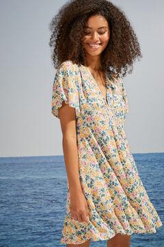 Womensecret Короткое платье с воланами и цветочным принтом бежевый