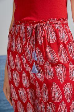 Womensecret Широкие струящиеся брюки красного цвета цветной