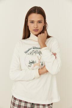 Womensecret Хлопковая футболка цвета слоновой кости с длинными рукавами и рождественскими мотивами бежевый
