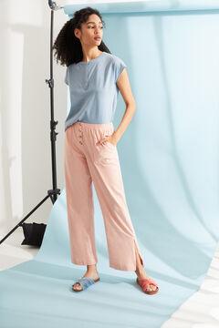 Womensecret Розовые длинные брюки-палаццо из хлопка розовый