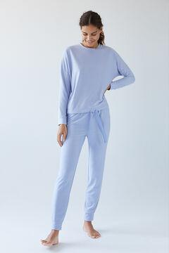 Womensecret Длинная пижама с полосатым принтом синего цвета  голубой