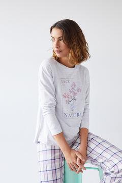 Womensecret Серая хлопковая футболка с длинными рукавами серый