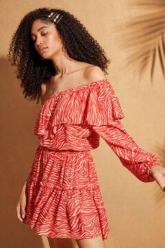 Womensecret Асимметричное платье с анималистичным принтом цветной