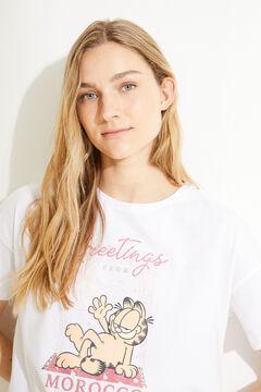 Womensecret Короткая пижама с верхом с короткими рукавами из 100 % хлопка розового цвета «Гарфилд» белый